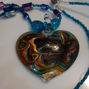 Morano Blue Glass Heart Pendant